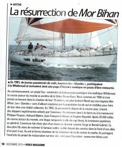 Article sur le voilier mor bihan dans la revue Voile Magazine