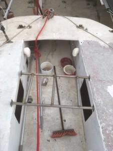 Voilier Mor Bihan rénovation, echelle de barre